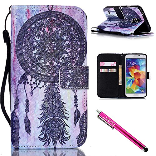 Galaxy S5 Case, Galaxy S5 Wallet Case, Firefish Stand Flip Folio Wallet Cover Shock Resistance Protective Shell with Cards Slots Magnetic Closure for Samsung Galaxy S5 (Makeup In The 80s)