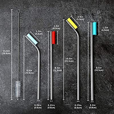 Stainless Steel Metal Drinking Straws With Silicone Tips and Brushes, 4 Straight and 4 Bent, For Tumblers, Reusable and Durable, Dishwasher Safe