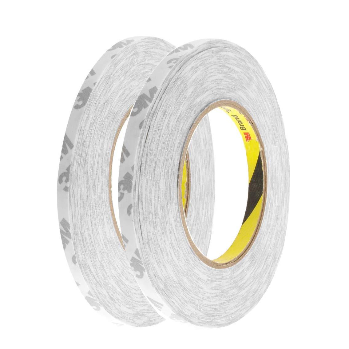 2 rollos de cinta adhesiva de doble cara para manualidades de bricolaje, oficina, hogar, escuela, cada una es de 50 metros (6 mm y 9 mm) FASTLD