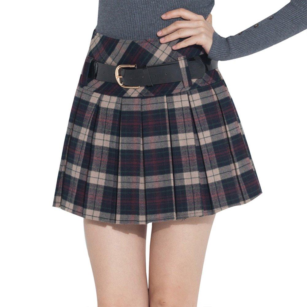 Tanming Women's A-Line Short Plaid Tartan Pleated Skirt Side Zipper