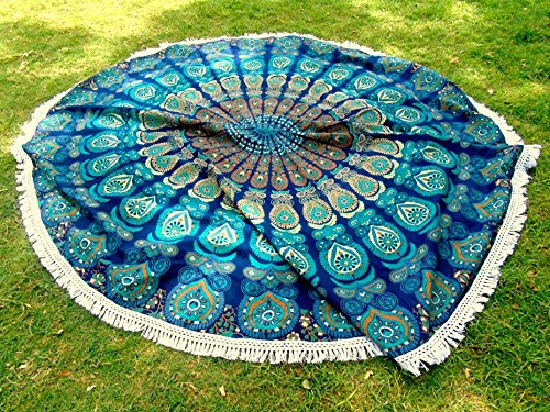 Americana Decor's Mandala Round Roundie Beach throw, tapestry Hippy Boho Tablecloth Beach Towel blue With Boho Jewelry ()