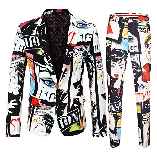 (CARFFIV Mens Fashion Two Piece Set Floral Print Suits (Jacket and Pants) (KF05, US 38R))