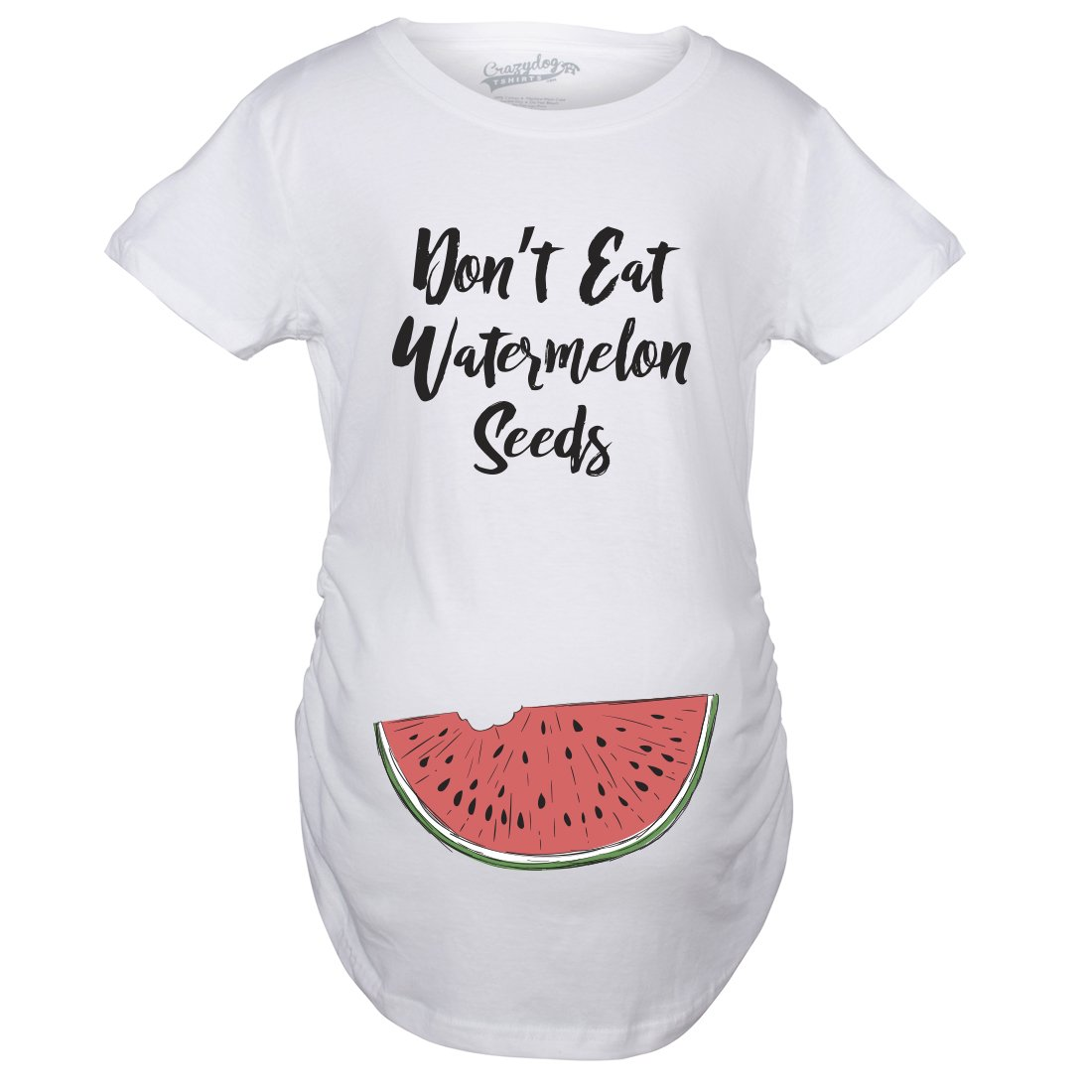 Crazy Dog T-Shirts Maternity Don't Eat Watermelon Seeds T Shirt Funny Pregnancy Reveal Pregnant Tee