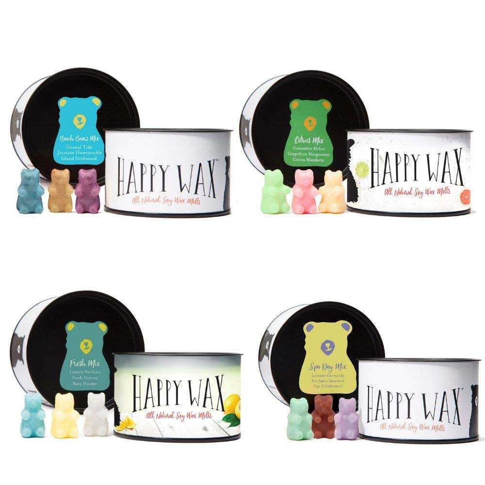 Happy Wax - Four Mixed Tins Wax Melt Sampler Gift Set - Includes 3.6 Oz Each of Our Scented Soy Wax Melts in Our Spa Day Mix, Beach Bears Mix, Citrus Mix, and Fresh Mix! by Happy Wax (Image #1)