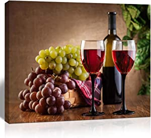 The Melody Art giclee grape and wine canvas print wall art kitchen accessories wall decorations for living room 12x16 in 1 PCS stretched and framed