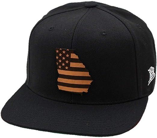 OSFA//Navy Branded Bills /'USA Native Leather Patch Snapback Hat