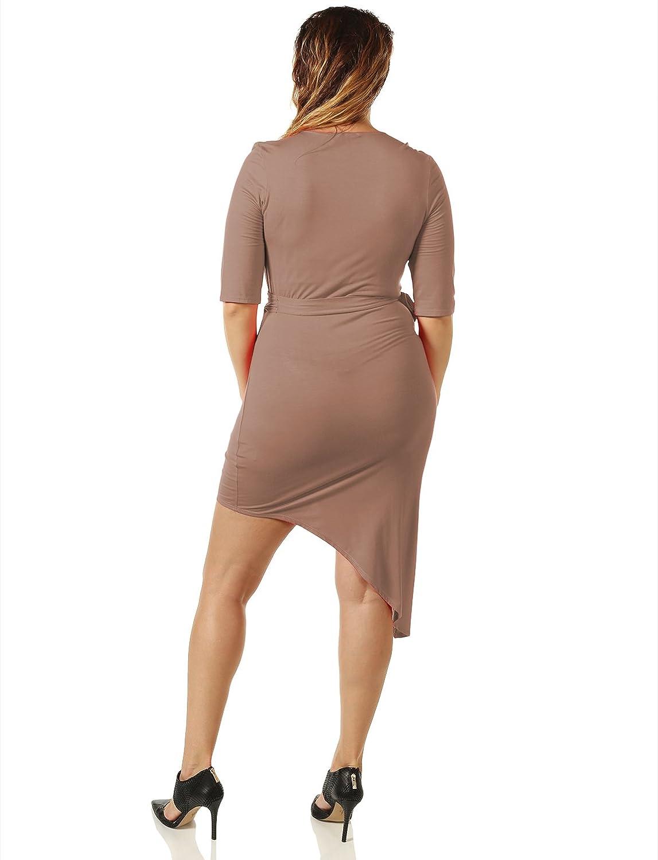 7Encounter Women's Plus Size Asymetrical Wrap Dress