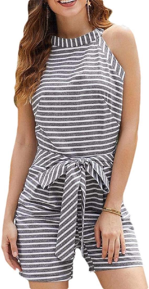 omniscient Women Rompers Summer Striped Sleeveless Back Zipper Wide Short Pants Jumpsuits with Pockets