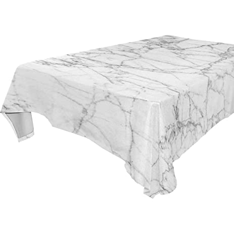 My Little Nest White Marble Texture Print Square Tablecloth Washable  Polyester Fabric, Picnic Party Kitchen