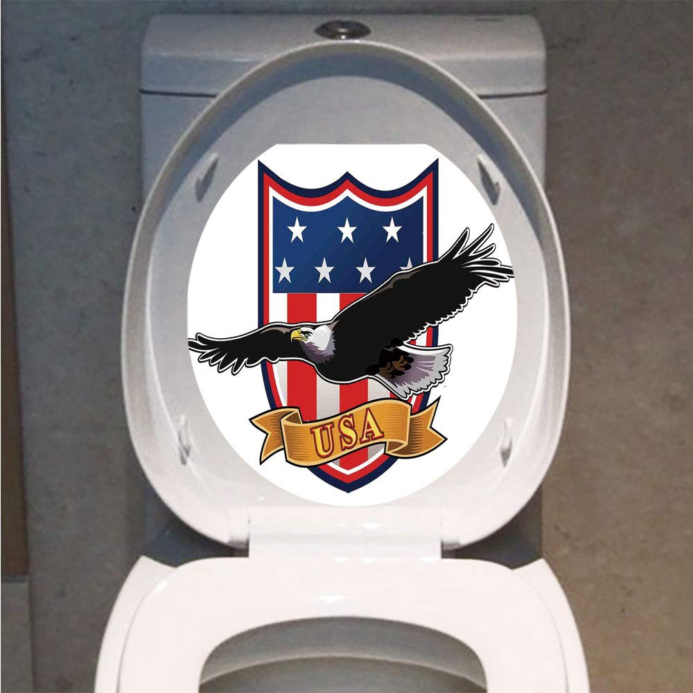 Amazon.com: Toilet Cover Sticker 3D Printing,American,Flying Eagle ...