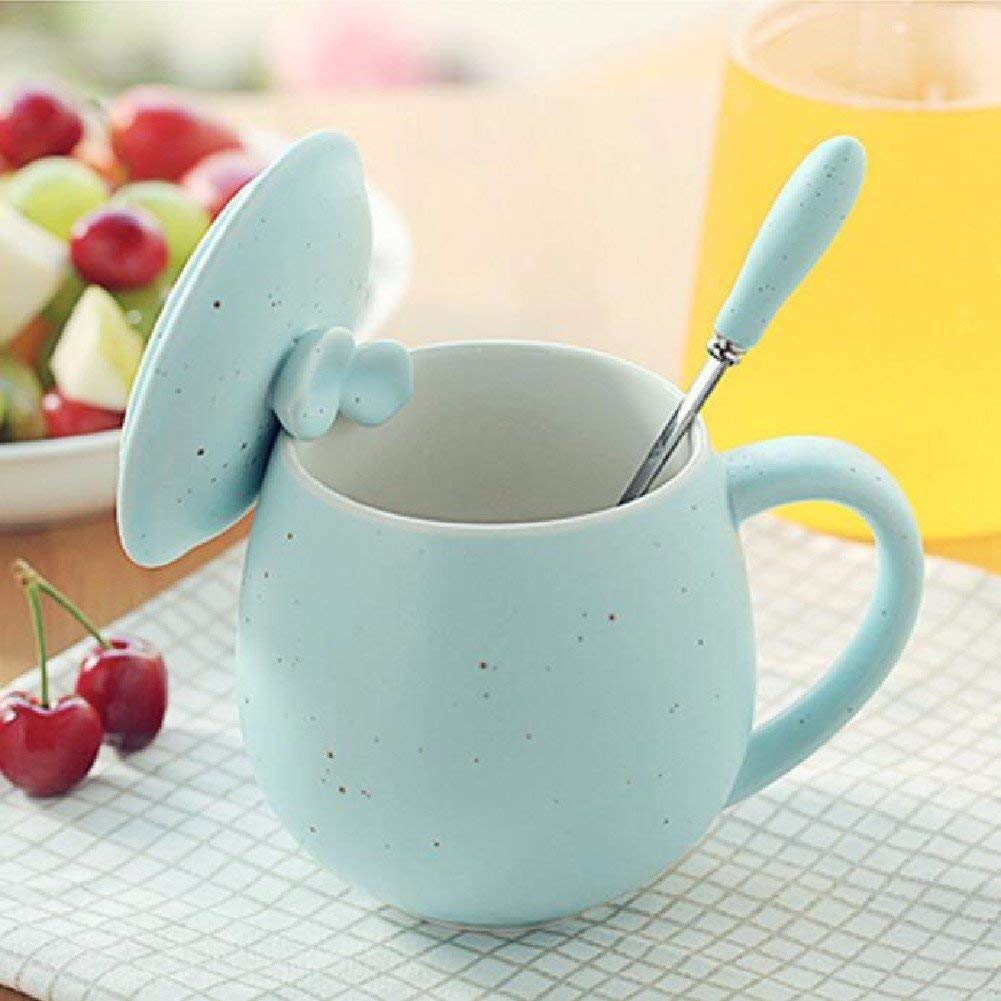 Kinue Exquisite Tea Cups Saucers Set Set Coffee Cup Retro Coffee Mug Mug with Cover with Spoon,Pink (Color : Blue) by Kinue