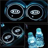 FurnishMyAuto Car Interior LED Coaster Logo Cup Holder 7 Colors Changing Atmosphere Lamp for Kia - Set of 2 pcs
