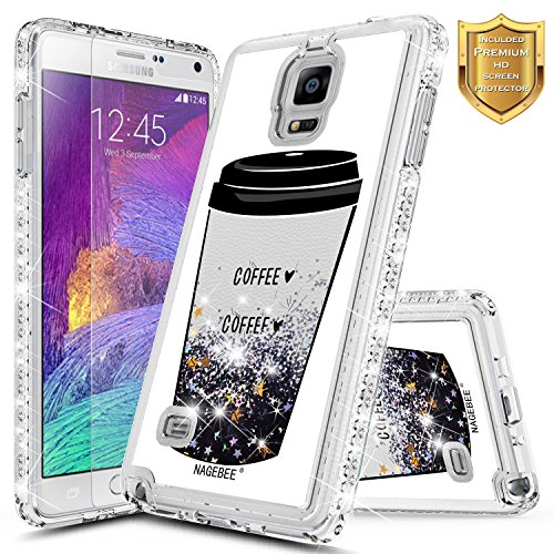 Note 4 Glitter Case w/[Screen Protector Premium Clear], NageBee Liquid Quicksand Waterfall Flowing Sparkle Bling Diamond Girls Cute Case for Samsung Galaxy Note 4 -Coffee ()