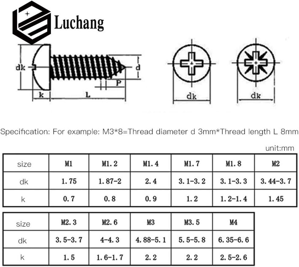 Luchang 1000 St/ück M2 M2.3 M2.6 M3 PA Kopf Mikroschrauben Rundkopf selbstschneidende elektronische kleine Holzschraube schwarz runder Kopf Kreuz selbstschneidende Schraube