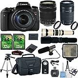 Canon EOS Digital Rebel T6s 24.2MP DSLR Camera with Canon 18-135mm STM Lens + Canon 55-250mm STM Lens + 500mm Preset + Shotgun Mic Bundle + 2pc 32GB SD Cards + LED Light Kit + Canon Case + 50'' Tripod