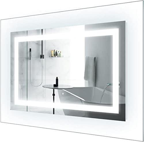 Krugg LED Lighted 42 Inch x 30 Inch Bathroom Mirror with Glass Frame Horizontal or Vertical Installation Defogger