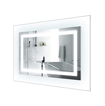 LED Lighted 42 Inch X 30 Bathroom Mirror With Glass Frame