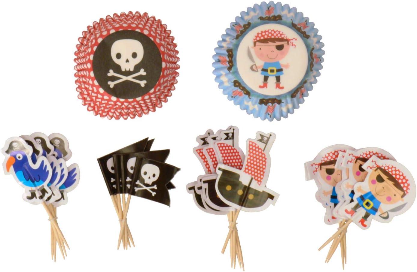 Mi partido pirata casos de tartas dise/ño de pirata y pirata banderas de tartas/-/Set de 24/casos y banderas