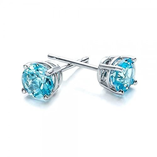 187740eef Amazon.com: 1/2 carat naturl blue topaz stud earrings in 14k white gold 4  mm Birthday present Anniversary gift for her and him: Handmade