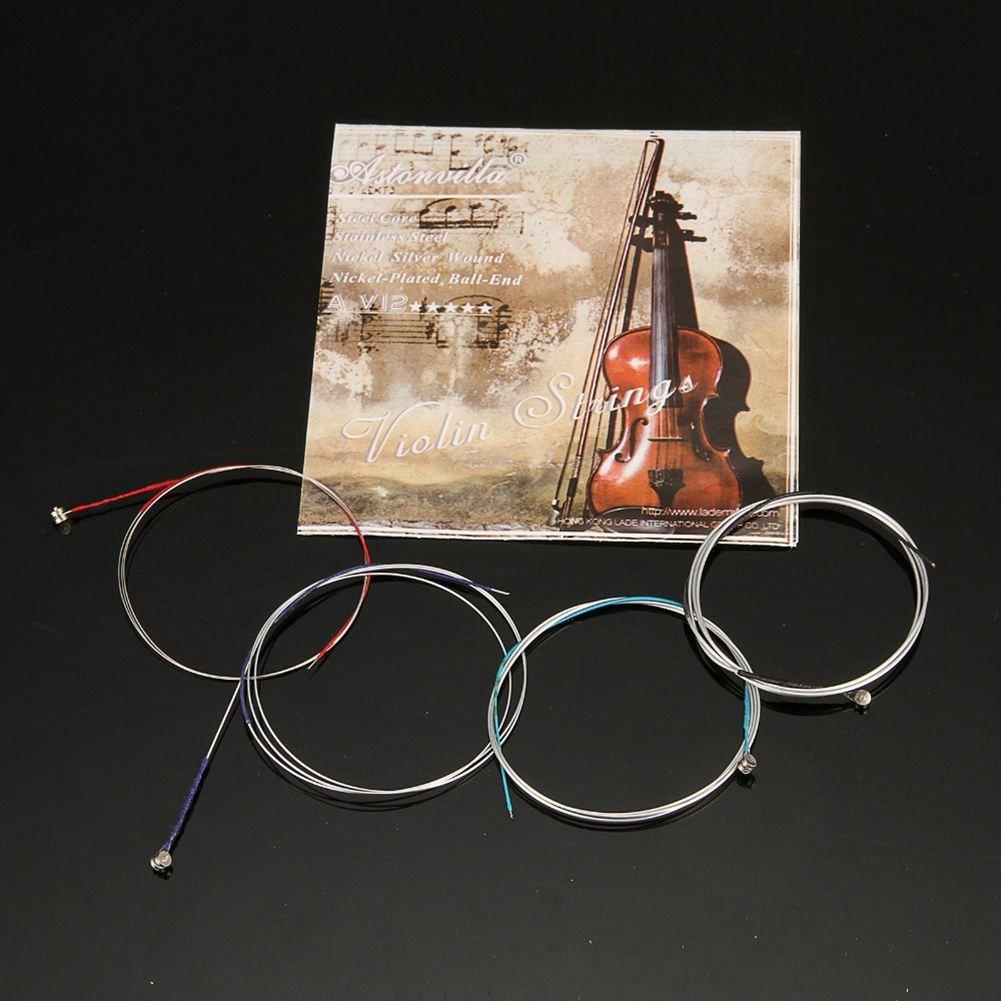 SODIAL 4unids//set cuerdas de violin E-A-D-G de alambre acero niquel Musical instrumento piezas de accesorios