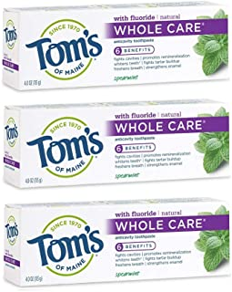 product image for Tom's of Maine Whole Care Toothpaste, Toms Toothpaste, Natural Toothpaste, Spearmint, 4.0 Ounce, 3-Pack