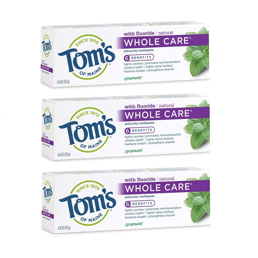 Tom's of Maine Whole Care Toothpaste, Toothpaste, Natuaral Toothpaste, Spearmint, 4.0 Ounce, 3-Pack
