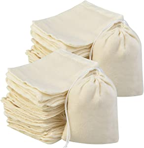 200Pcs Cotton Drawstring Bags, Reusable Muslin Bag Natural Cotton Bags with Drawstring Produce Bags Bulk Gift Bag Jewelry Pouch for Party Wedding Home Storage, Natural Color (4 x 3 Inches)