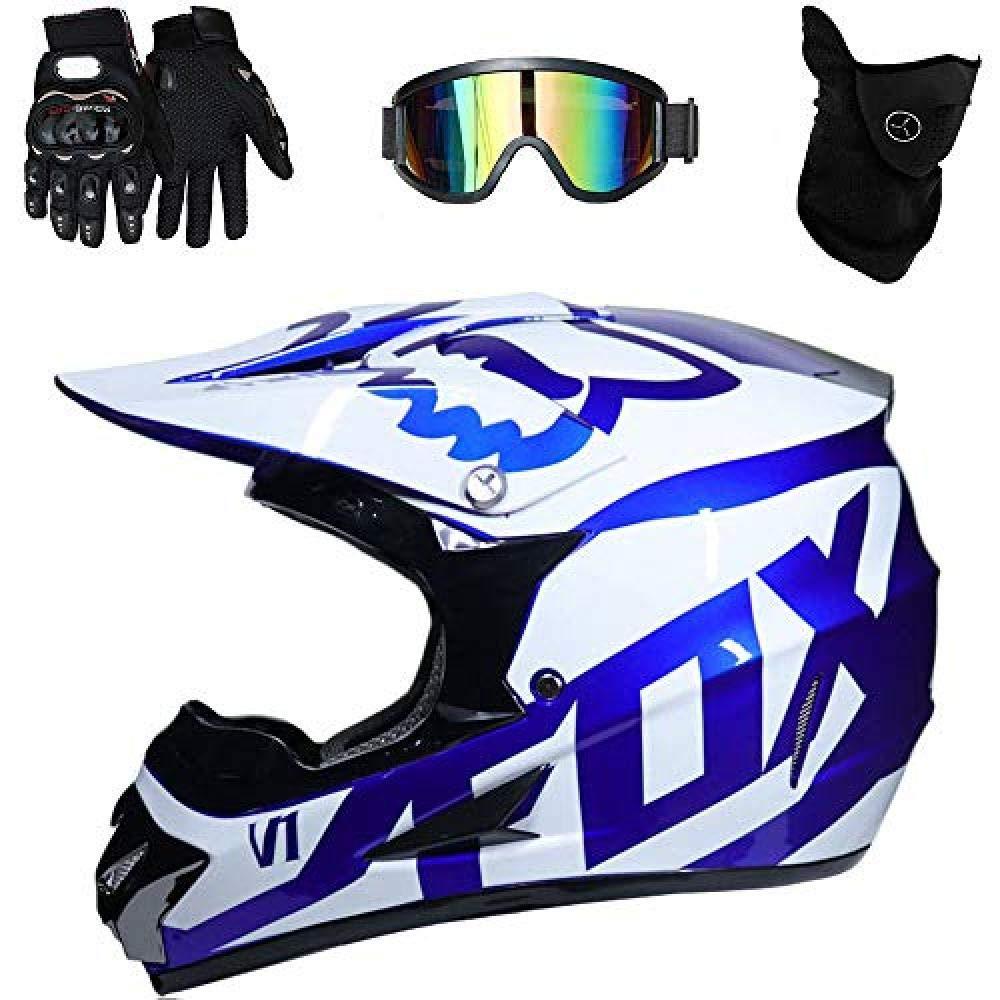 LOSUK Casque Moto,Casque Moto VTT ADV UTV Casque de Moto Cross Country D O T Endurance Certification de s/écurit/é avec oculaires//Gants//Masque@A/_L 56~57cm