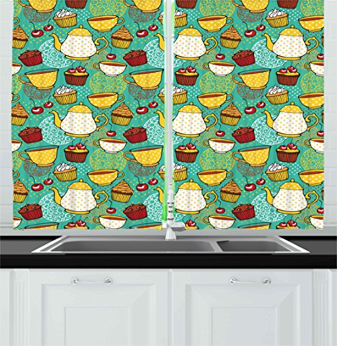 Ambesonne Kitchen Kitchen Curtains, Funky Tea Cup Cake Muffin Cherry Sweet Bakery British Lifestyle Graphic, Window Drapes 2 Panels Set for Kitchen Cafe, 55W X 39L Inches, Seafoam Yellow Red