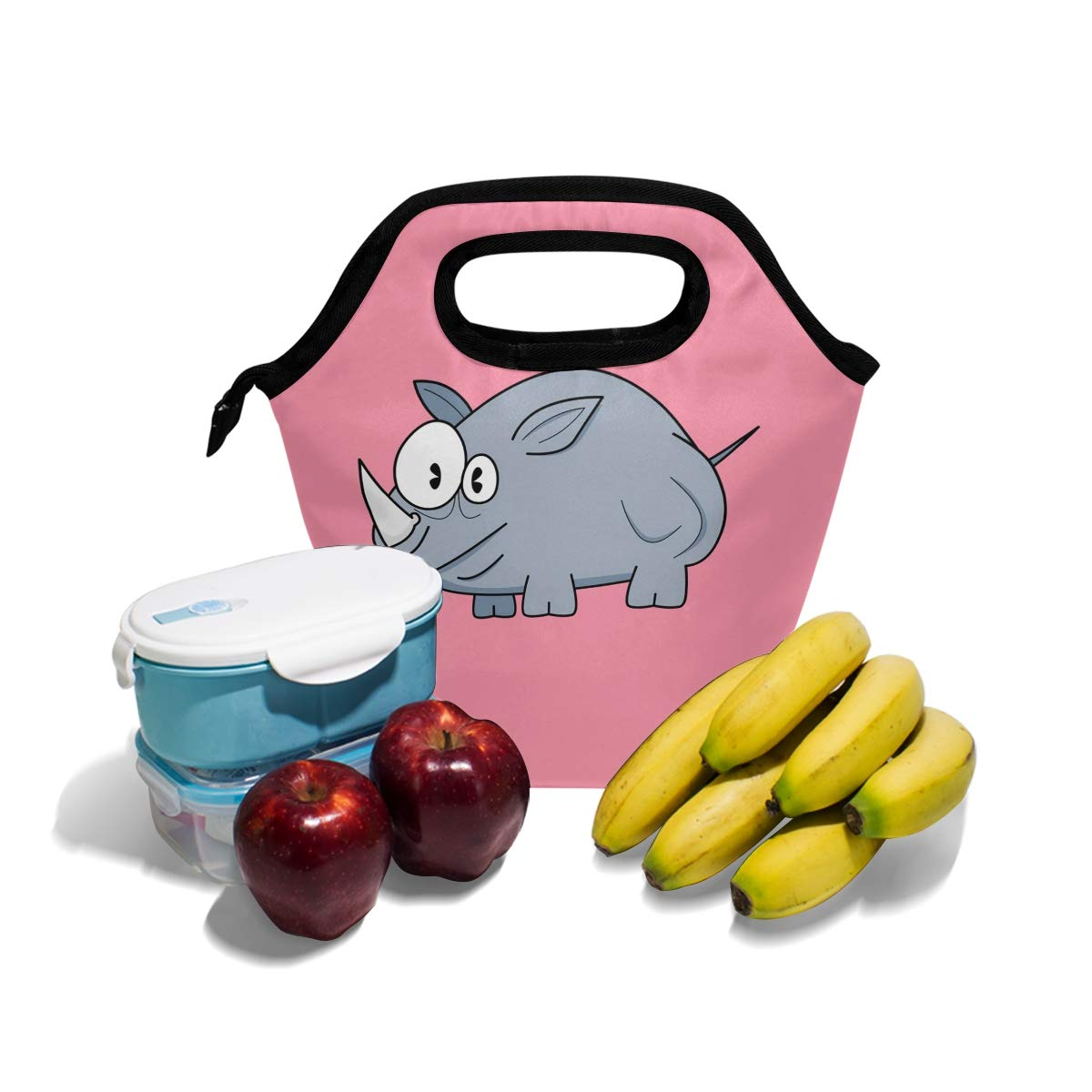 Amazon com: Lunch Tote Bag with Cartoon Rhinoceros Print- Insulated