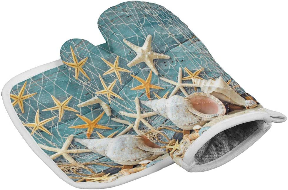 Chic Decor Home Set of Oven Mitt and Pot Holder, Beach Coastal Starfish Seashel Oven Gloves Heat Resistance Non-Slip Surface for Kitchen BBQ Cooking Baking Grilling, Blue Accent