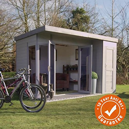 12×8 T&G Wooden Contemporary Summerhouse with Side Storage Shed – By Waltons