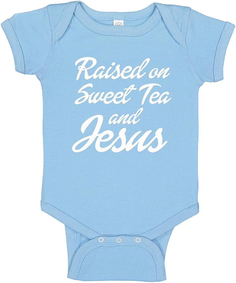 Baby Romper Raised on Sweet Tea and Jesus 100/% Cotton Long Sleeve Infant Bodysuit