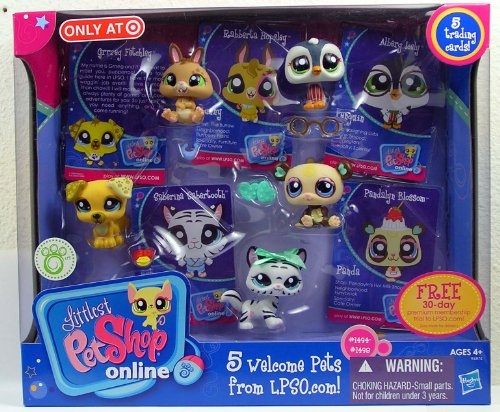 Littlest Pet Shop Online Multi-pack with 5 Trading cards and 5 Welcome Pets from LPSO.com -
