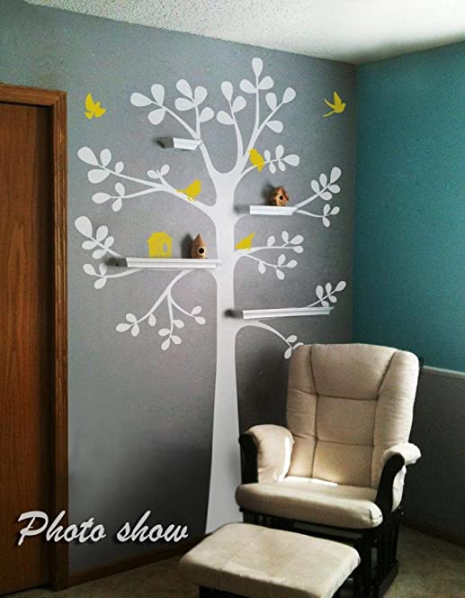 Tree Wall Decal   Shelving Tree Decal With Birds Vinyl Tree Wall Sticker  Nursery Wall Decal Part 58