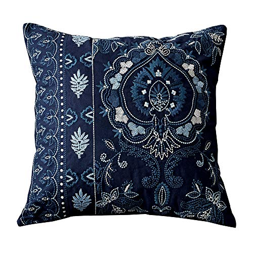 Aslanishome Pillow Covers 100% Cotton Floral/Flower Embroidered Decorative Throw Pillow Covers Countryside Rural Pattern Pillow Case 18×18inch Blue