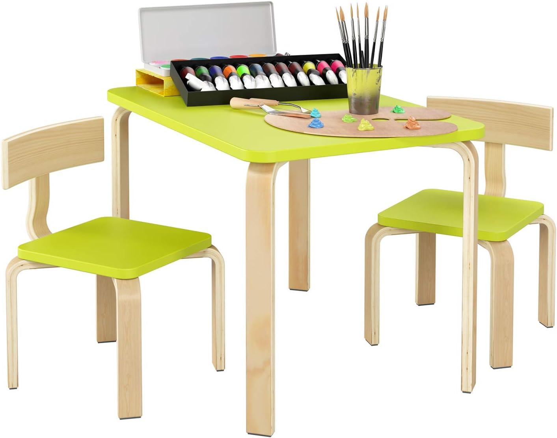 Homfa Juego de Mesa y 2 Sillas para Niños Muebles Infantiles Mesa con Sillas para Ñinos de 2-10 Años Verde: Amazon.es: Hogar