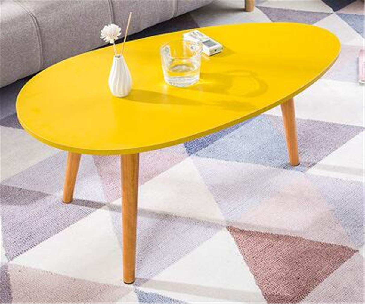 Small Yellow Coffee Tables Living Room Tea Table 90x50x42cm Solid Wood Legs Yellow Multi-Functional Eating Table
