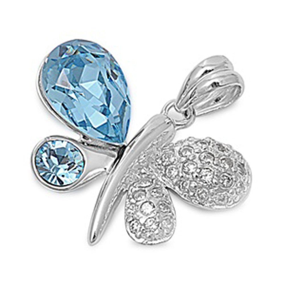 Butterfly Pendant Simulated Aquamarine Clear CZ .925 Sterling Silver Charm - Silver Jewelry Accessories Key Chain Bracelet Necklace Pendants by JumpingLight