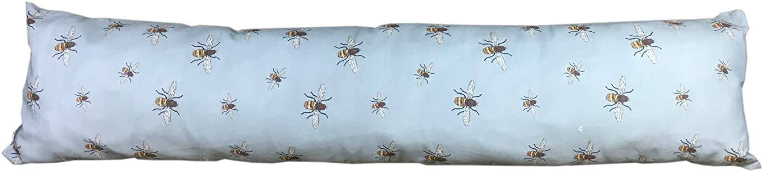 Bees Draught Excluder Door or Window Cotton Draft Guard Stopper Cushion (Blue)