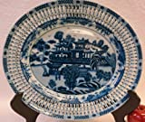 Blue and White Open Trimmed Forgotten City Porcelain Charger 14''
