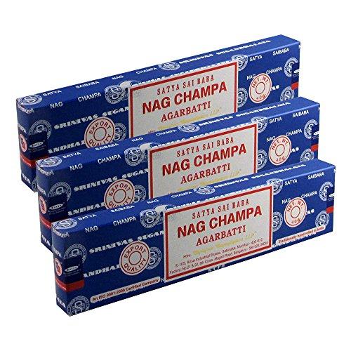 (Satya Sai Baba Nag Champa Agarbatti Pack of 3 Incense Sticks Boxes 40gms Each Supreme Hand Rolled Incense Sticks Incense Sticks for Mind Relaxation, Meditation, Positivity and)
