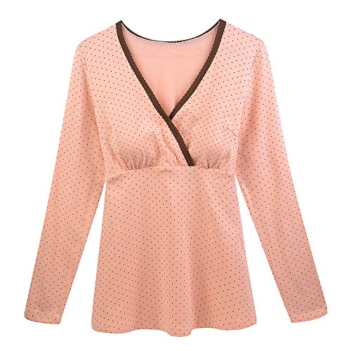 Premaman Camicia, ZUMIY Maternity & Nursing V Neck Top Pregnancy Breastfeeding Pure Cotton Lactation Long Sleeves Cami Tank Pink Dot