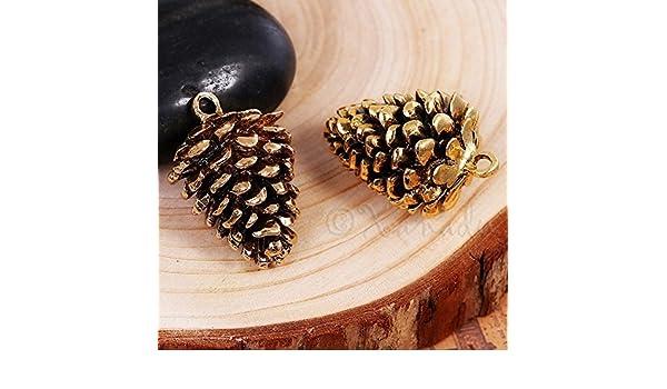 910c0464474 Amazon.com  OutletBestSelling Pendants Beads Bracelet Pine Cone Charms 34mm  Antiqued Gold Plated Autumn Pendants 2pcs  Arts