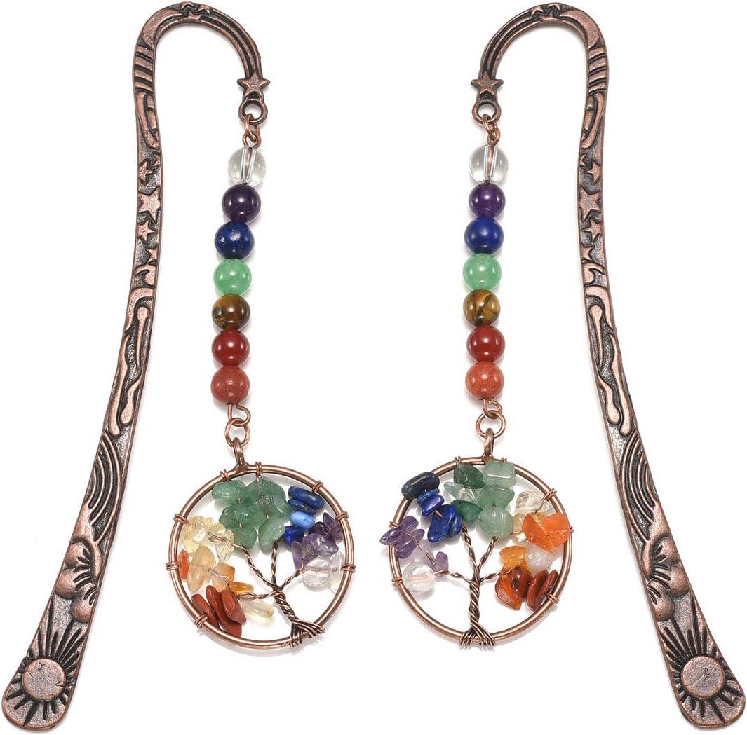 Jovivi - Marcapáginas de metal, diseño vintage de estrella de bronce y luna, incluye 7 chakras de gemas y colgante del árbol de la vida de alambre, unisex, pack de 1 a 10, 2 árboles de la vida.