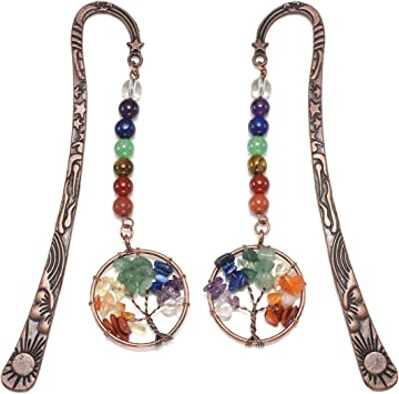 JOVIVI Vintage Bronze Stars Moon Sun Beaded Bookmark 7 Chakra Gemstone Tree of Life Wire Wrapped Crystal Pendant Charm Book Marker for Women Men,Pack of 1