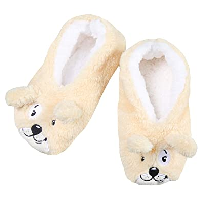 Faceplant Tan Dog Tired Footsies | Slippers
