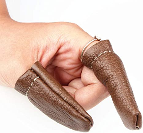 HEALLILY Protezioni per ditale in Pelle da Dito per Dito Indice per infeltrimento da 6 Pezzi