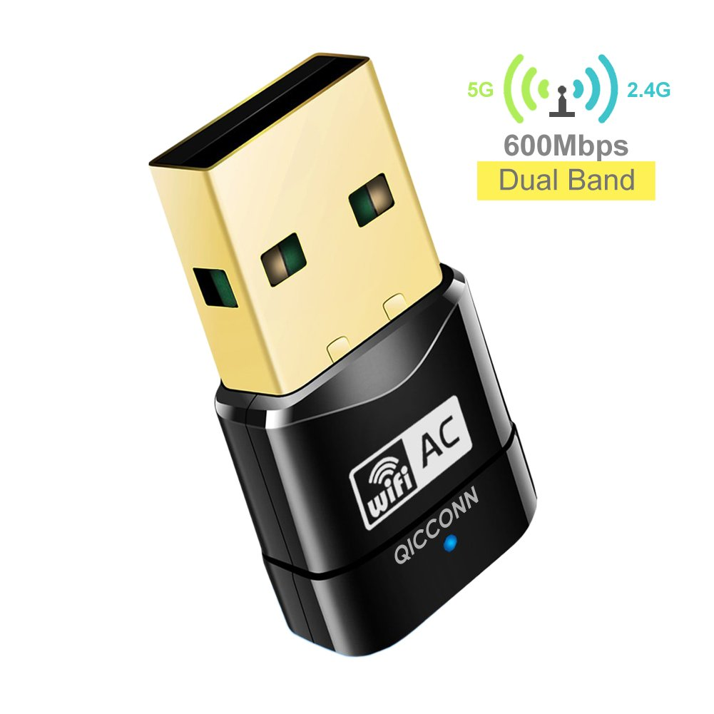 USB WiFi Adapter, QICCONN 600Mbps Mini Dual Band AC600 2.4G/5G WiFi Dongle Wireless Network Adapter, Support Windows 10/8.1/8/7/Vista/XP(32/64bits)