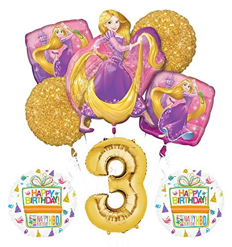 NEW! Tangled Rapunzel Disney Princess 3rd BIRTHDAY PARTY Balloon decorations supplies]()